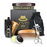 Beard Care Grooming & Trimming Kit 6 in 1 Mens Gifts - Unscented Beard Conditioner Oil, Mustache & Beard Comb, Balm Wax, Brush, Mustache Scissors Trimmer for Styling Shaping & Growth (6 pcs Set) (Tamaño: 6 pcs set)