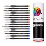Miniature Fine Detail 15pc Paint Brush Set by LENOX ARTS - Elite Micro Series VI - No Fatigue Triangle Handle, Color Coordinated Tips - Acrylic, Watercolor, Oil, Paint by Numbers Artist Brushes