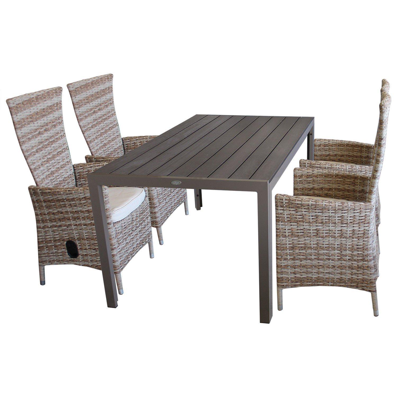 5tlg. Sitzgruppe Sitzgarnitur Gartenmöbel Terrassenmöbel Set Gartengarnitur Polywood Tisch 150x90cm + 4x Gartensessel 'Nature', stufenlos verstellbar + Sitzkissen