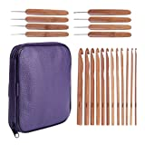 20 Carbonized Bamboo Crochet Hooks, Full Gift Set, Lightweight, Ergonomic, Eco-Friendly, Size C to N, Steel Hook Sizes 1.0-2.75MM (Color: Dark Purple Bag)