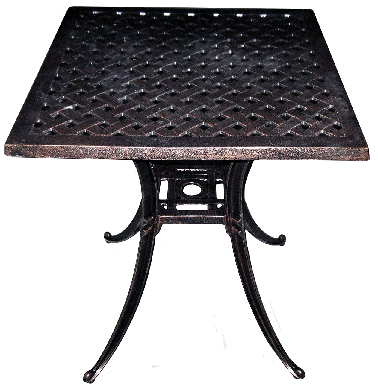 American Trading Company Weave Design Antique Bronze Solid Cast Aluminum Square Table, 24