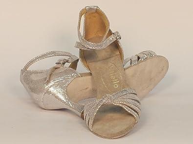 los angeles aef3c 8c87a  Negozio dettaglio Scarpa da donna per ballo latino-americano incrociato  satinato argento.