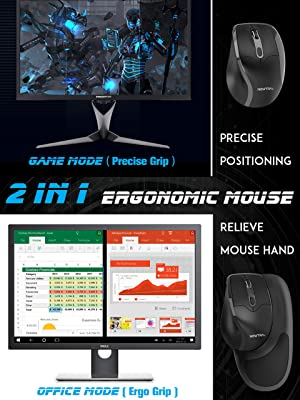Newtral Medium Size (Small,Medium,Large Available) Semi-Vertical Wireless Ergonomic Mouse,All Buttons Programmable, 800/1600/2400 DPI, Detachable Magnetic Palm Support (M) (Color: Medium Black)