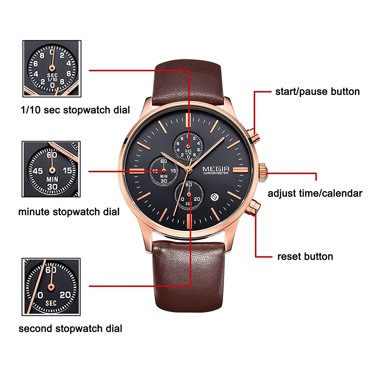 Megir Mens Vintage Chronograph Luminous Brown Leather Quartz Wrist Watches 3