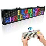 Leadleds 30 x 6-in LED Message Board Scrolling Multicolored Text BMP Icon Hours for Business Home Office Sandwich Restaurant Beer Open - Fast Program by Remote (Color: multicolored)