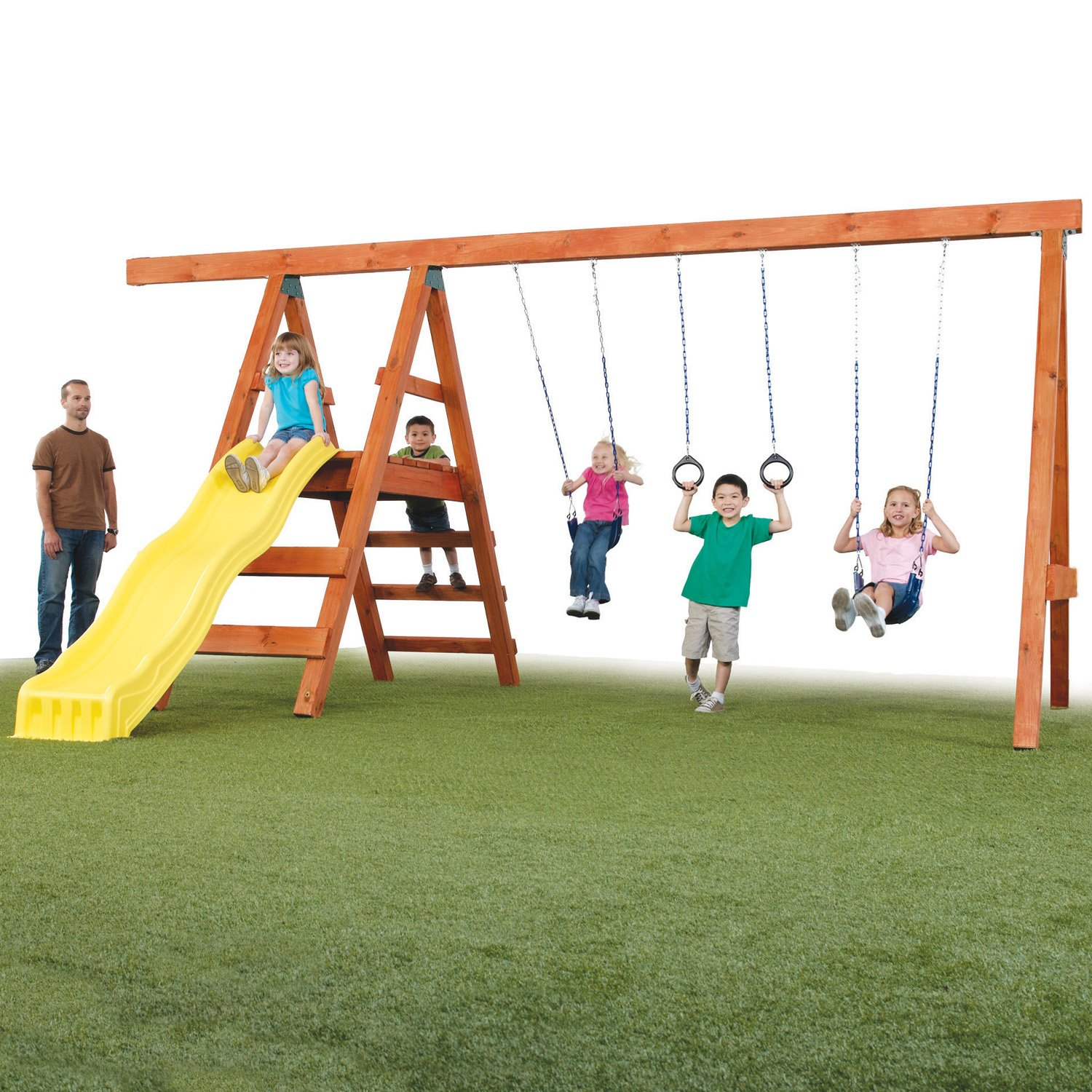 Swing set playground slide wooden kit outdoor backyard for Swing set frame only