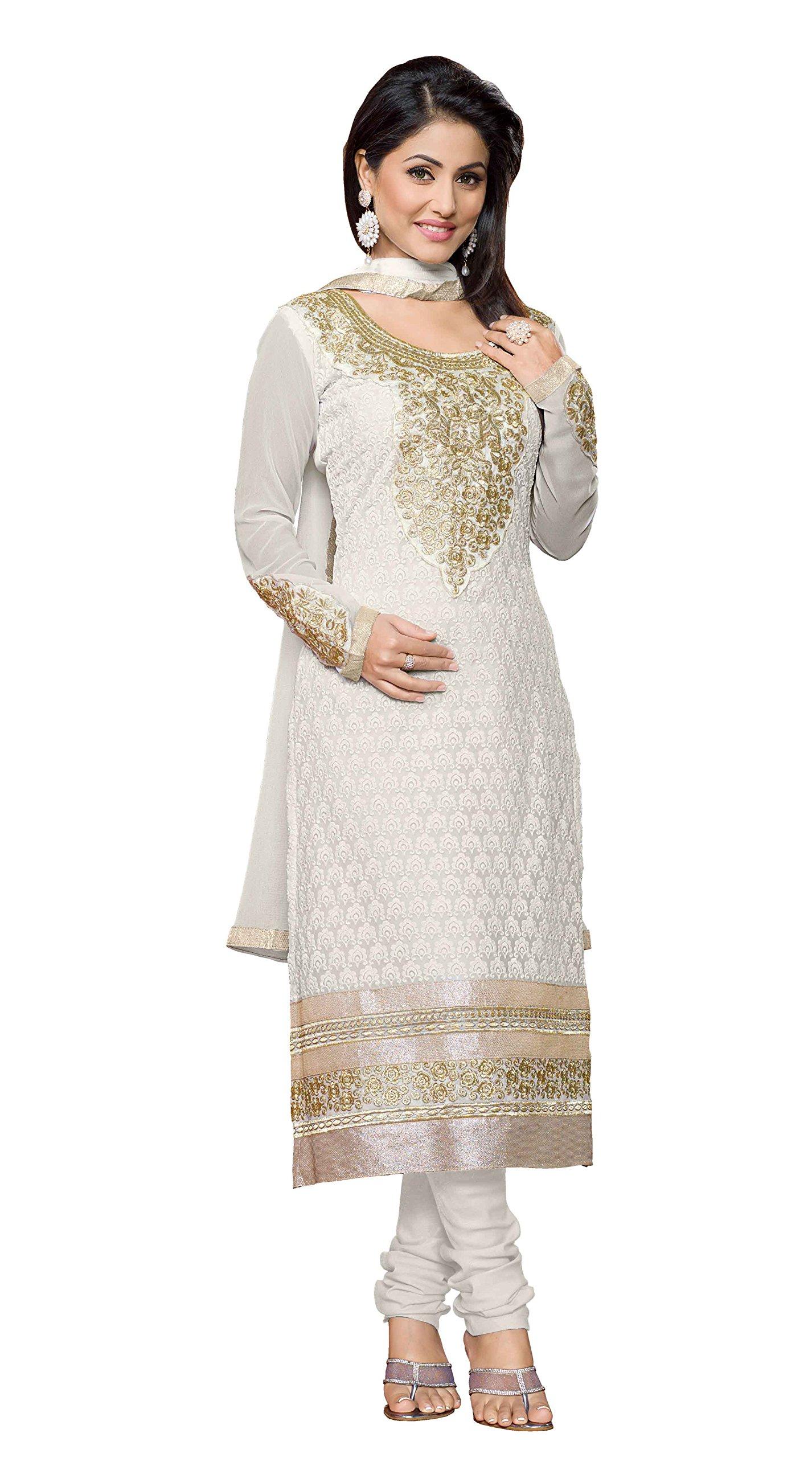 Khushali Women Georgette Karachi Unstitched Salwar Suit Dress Materials (White)