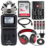 Zoom H5 Four-Track Portable Recorder with Interchangeable Microphone System Including Samson Studio Headphones and Deluxe Accessory Bundle (Tamaño: Standard)