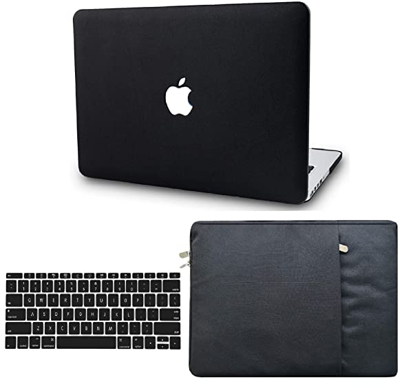 KECC Laptop Case for Old MacBook Pro 13 Retina (2015-) w/Keyboard Cover + Sleeve Italian Leather Case A1502/A1425 3 in 1 Bundle (Black Leather) (Color: Black Leather + Sleeve + Keyboard Cover, Tamaño: A1502/A1425 Old Mac Pro 13 Retina (-2015))