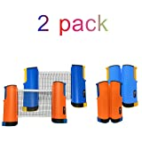 JP WinLook Ping Pong Net - 2 Retractable Table Tennis Net/Post Replacement Set, Portable Accessories Anywhere Any Table, Indoor Outdoor, Adjustable Plastic Bracket Clamps, Travel Holder Case Bag