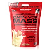 MuscleMeds Carnivor Mass Anabolic Beef Protein Gainer, Vanilla Caramel, 10 Pounds