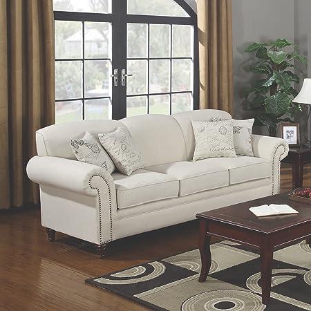 Coaster Home Furnishings 501154 Traditional Sofa, Cream