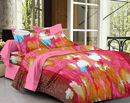 Story@Home Magic Cotton Double Bedsheet with 2 Pillow Covers - Multi