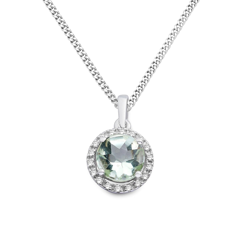 Miore Damen-Kette mit Anhänger 9 Karat Brillanten 375 Weißgold rhodiniert Amethyst grün Rundschliff Diamant 45 cm – MKW9057N jetzt kaufen