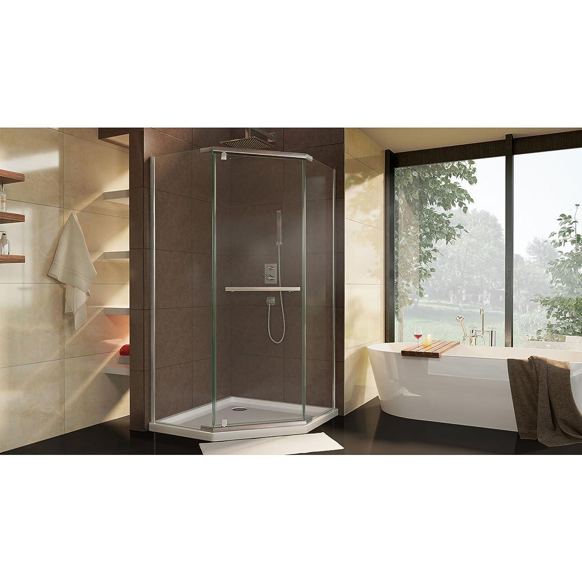 "DreamLine Prism 34 1/8 in. D x 34 1/8 in. W, Frameless Pivot Shower Enclosure, 3/8"" Glass, Brushed Nickel Finish"