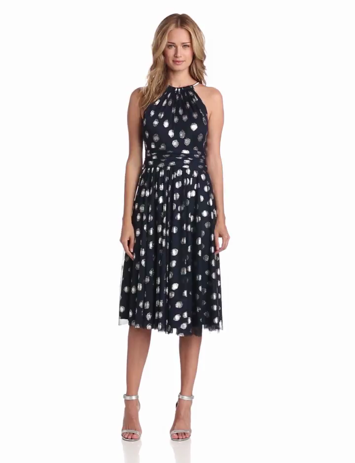 Jessica Howard Womens Sleeveless Shirred Neck Fit and Flare Dress, Navy/Silver, 14