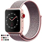VATI Compatible for Apple Watch Band 38mm 42mm Soft Breathable Nylon Sport Loop Band Adjustable Wrist Strap Replacement Band Compatible for iWatch Series 3/2/1, Sport, Nike+, Edition (Color: Pink Sand, Tamaño: Watch 42MM)