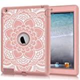 Hocase iPad 2/3/4 Case, Shockproof Heavy Duty Protection Silicone Rubber+Hard Plastic Hybrid Dual Layer Slim Protective Case for iPad 2nd/3rd/4th Generation (9.7-inch) - Rose Gold Mandala Flowers (Color: Rose Gold Mandala Flowers)