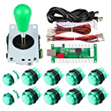 Avisiri 1 Player Arcade Buttons Joystick DIY Kit Parts Include 1x Ellipse Balltop Handle Stick 10x LED Arcade Button 1x USB Encoder Controller for PC MAME Raspberry Pi Windows (Green) (Color: Green)