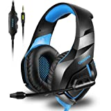 ONIKUMA Stereo Gaming Headset for PS4 Xbox One, Noise Cancelling Mic Over Ears Gaming Headphones with Microphone for Nintendo Switch PlayStation 4 Laptop Smartphones and PC (Color: Blue)