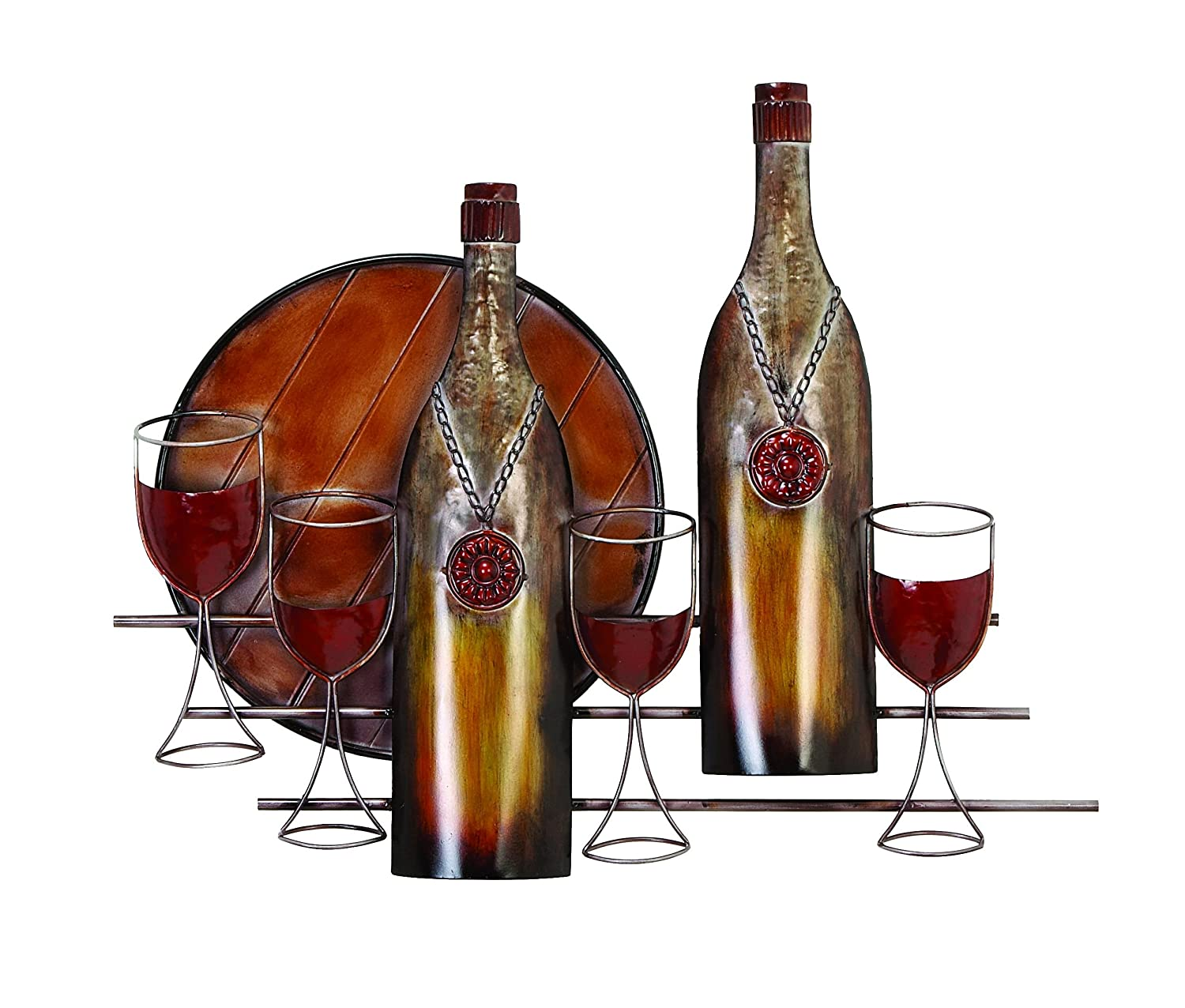 Metal decorative modern wall art wine bottle amp glasses Metal home decor