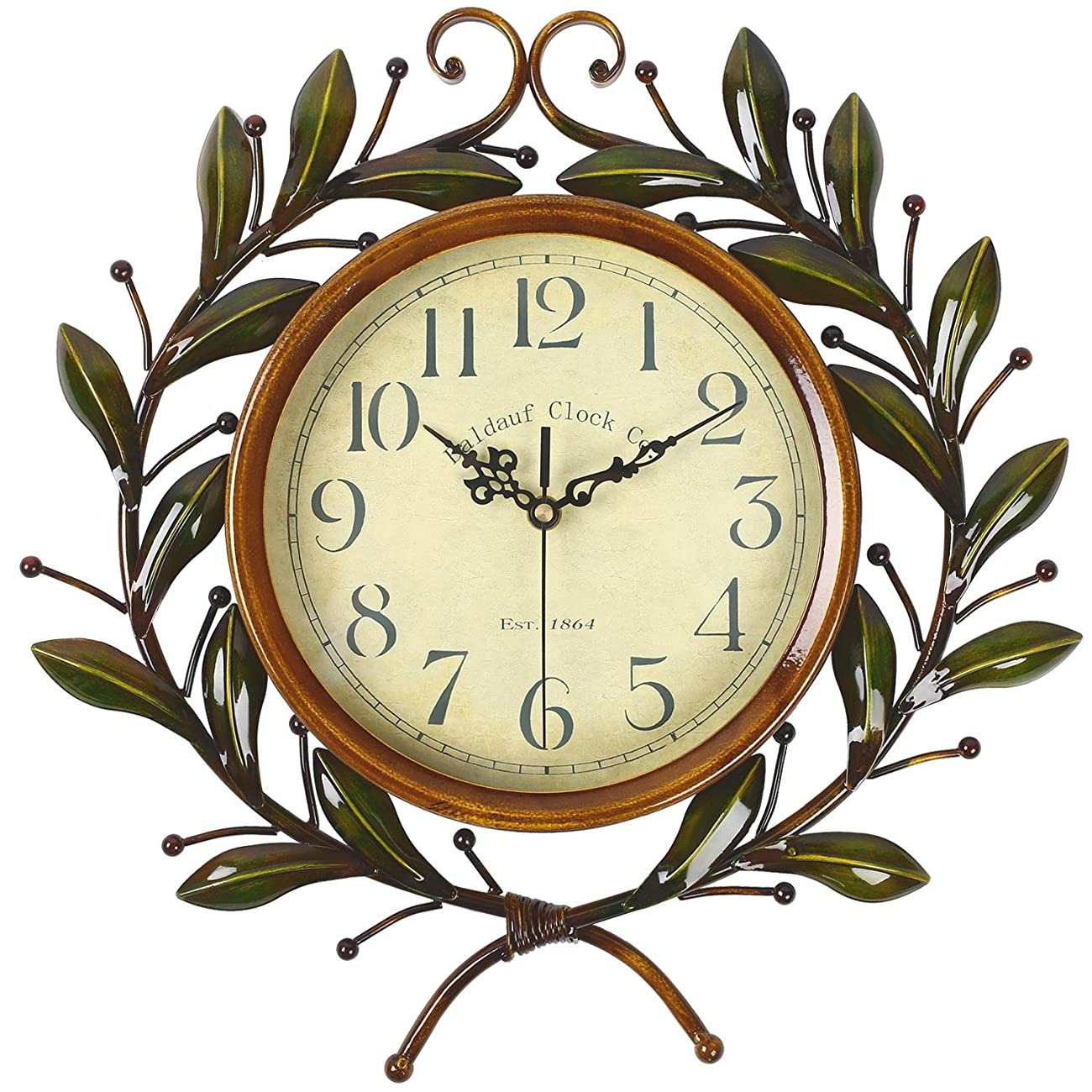 Soledi Vintage Wall Clock Classic Silent Non-ticking For Home Decoration Olive Branch Design 0