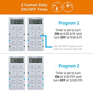 myTouchSmart In-Wall Digital Timer, 4 Programmable On/Off Buttons, 2 Easy On/Off Buttons, 24 Hour Daily Cycles, Blue LED Indicators, with Battery Backup, for Indoor/Outdoor Lights, Fans, 26893 (Color: 2 Custom On/Off, Tamaño: 1)