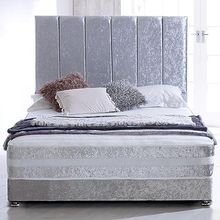 Hf4you Line Orthopaedic Sprung Memory Foam Bed Set - Crushed Velvet Silver - 5FT Kingsize
