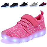 Kids LED Light Up Shoes Breathable Kids Girls Boys Breathable Flashing Sneakers as Gift pink34 (Color: Pink, Tamaño: 2.5 M US Little Kid)