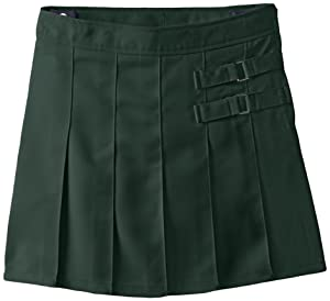 French Toast Big Girls' Two-Tab Pleated Scooter, Hunter, 8
