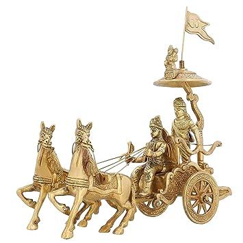 Indian Home D Cor Brass Statue Lord Krishna Arjun Hanuman Horse 8 Inch 1 5 Kg
