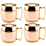 Old Dutch International Solid Moscow Mule Mug, 16-Ounce, Monogrammed C, Copper, Set of 4