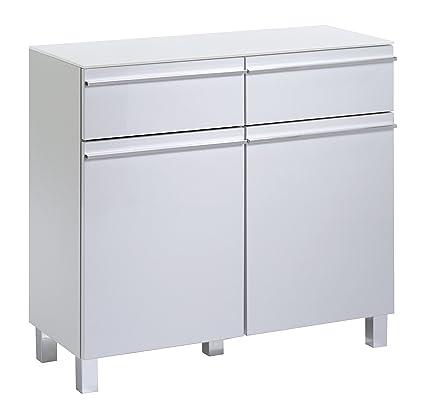 Cavadore Sideboard Sleek 10 / Moderne Kommode aus Holz mit Hochglanz-Front in Weiß und Ablage aus Glas / 33 x 80 x 73 cm (T x B x H)
