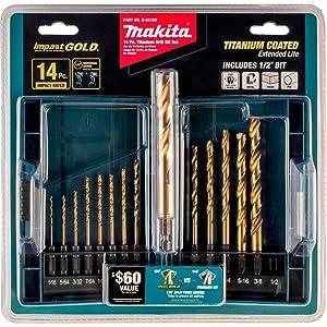 Makita B-65399 Impact Gold 14 Pc. Titanium Drill Bit Set, 1/4 Hex Shank