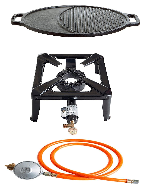 Hockerkocher mit 8.5 kW Leistung, Abmessung 30x30x15 cm und Gusseisengrillplatte variabel Ø 45 cm jetzt kaufen