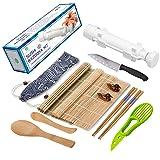 Sushi Making Kit - All In One Sushi Bazooka Maker with Bamboo Mats, Bamboo Chopsticks, Avocado Slicer, Paddle, Spreader, Sushi Knife, Chopsticks Holder and Cotton Bag - Gift Box (Color: White, Tamaño: 29*6*6cm)