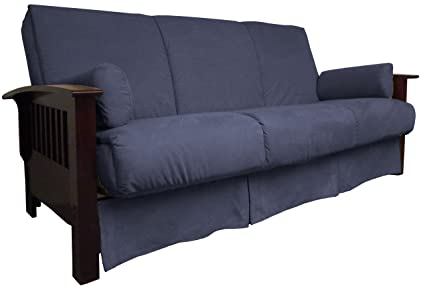 Epic Furnishings Brentwood Perfect Sit and Sleep Pillow Top Sofa Sleeper Bed, Queen-size, Mahogany Frame Finish, Suede Dark Blue Upholstery