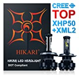 HIKARI LED Headlight Bulbs Conversion Kit -H4(9003),CREE (XHP50+XM-L2) 9600lm 6K Cool White,2 Yr Warranty