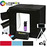 LITEBOX LED Photo Studio Shooting Tent Kit in a Box - 2 Dimmable Light Bars, 4 Backdrops, Tripod & Premium Travel Bag! (5500K Daylight) - 24