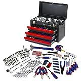 WORKPRO W009044A 408-Piece Mechanics Tool Set with 3-Drawer Heavy Duty Metal Box (Tamaño: 1-(Pack))