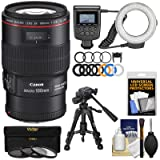 Canon EF 100mm f/2.8 L is Macro USM Lens with Ring Light + Tripod + 3 Filters Kit for EOS 80D, 6D, 7D, 5DS, 5D II III IV, Rebel T6, T6i, T6s, T7, T7i (Color: Black)