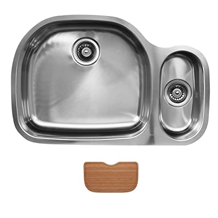 Ukinox D537.80.20.8L.C Modern Undermount Double Bowl Stainless Steel Kitchen Sink with Cutting Board