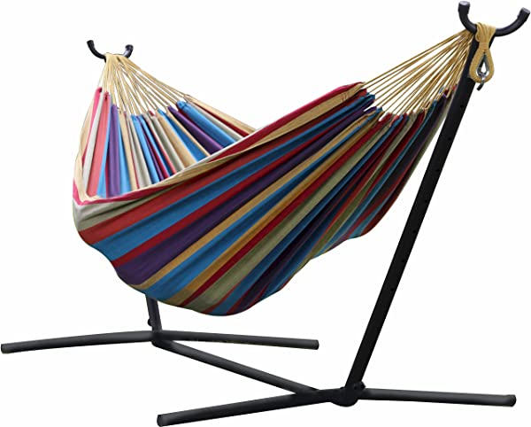 Vivere UHSDO9 Double Hammock with Space-Saving Steel Stand