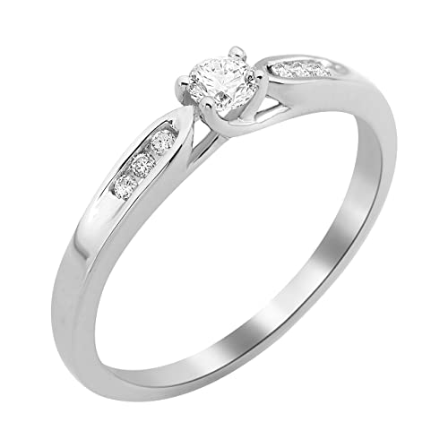 Engagement Ring Solitaire Necklace 9 ct White Gold Diamond 0.2 cts-of-MF9079R8 T58 Set