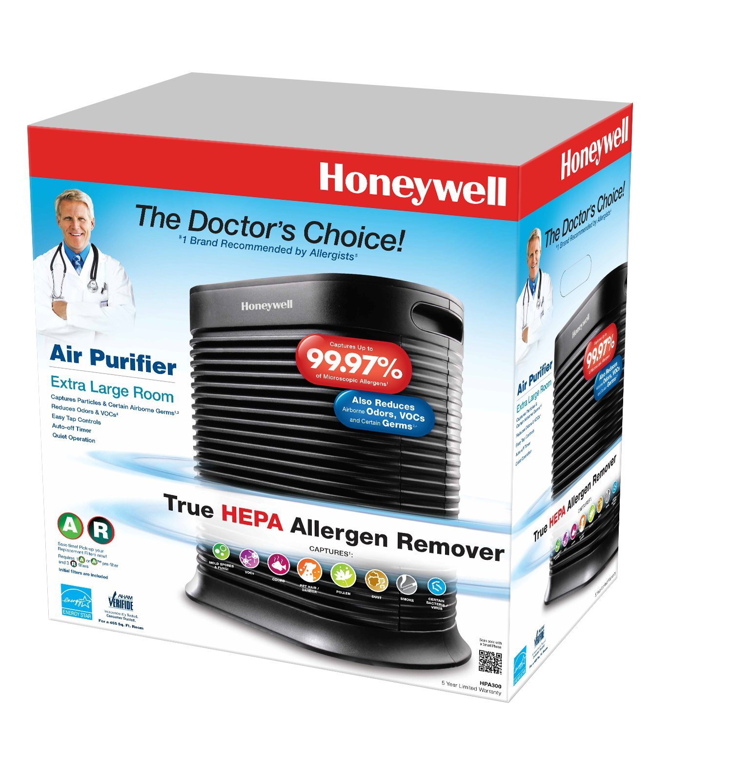 honeywell true hepa allergen remover 465 sq ft hpa300 ebay. Black Bedroom Furniture Sets. Home Design Ideas