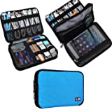 BUBM Double Layer Electronic Accessories Organizer, Travel Gear Bag for Cables, USB Flash Drive, Plug and More, Perfect Size Fits for iPad Mini (Medium, Blue)