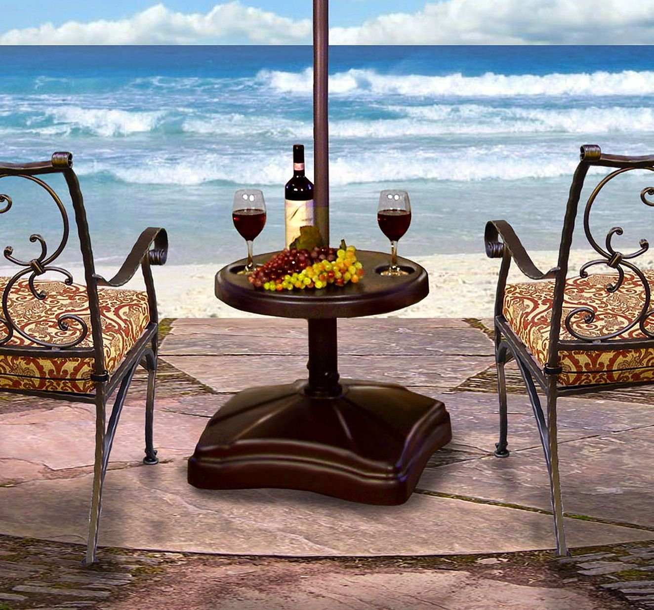 Patio Umbrella Stand Table: Table Rolling Umbrella Stand Accessory Hold Drink Snack