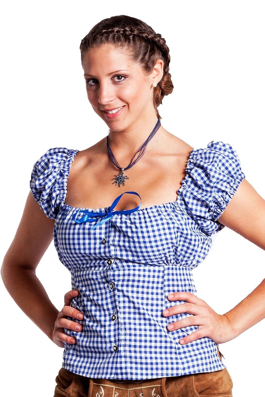oktoberfest bekleidung damen trachtenbluse blau weiss kariert trachten dirndl bluse. Black Bedroom Furniture Sets. Home Design Ideas