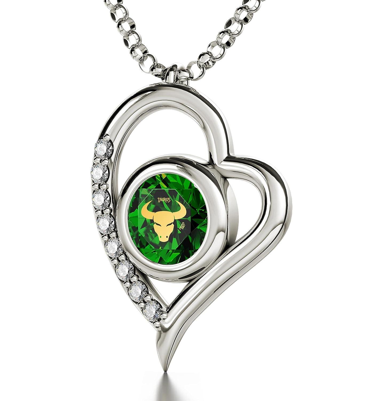 Smaragdfarbener Geburtsstein-Schmuck Mai - Silberne Stier-Halskette - Herz-Amulett, Zodiac Astrozeichen befindet sich in 24k Gold auf Zirkonia-Anhänger - Geburtstagsgeschenk-Ideen
