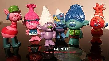 By channeltoys - Lot de 6pcs Figurines Les Trolls - 5 à 7cm - Poppy Cooper Guy Diamond Branch Creek Dj Suki - Pvc rigide - Figures trolls by channeltoys